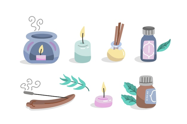 Drawn aromatherapy element collection