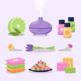 Insieme di elementi di aromaterapia disegnato