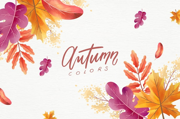 Drawn autumn background with colorful leaves