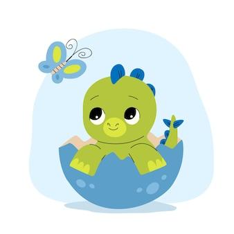 Disegnato baby dinosauro illustrato