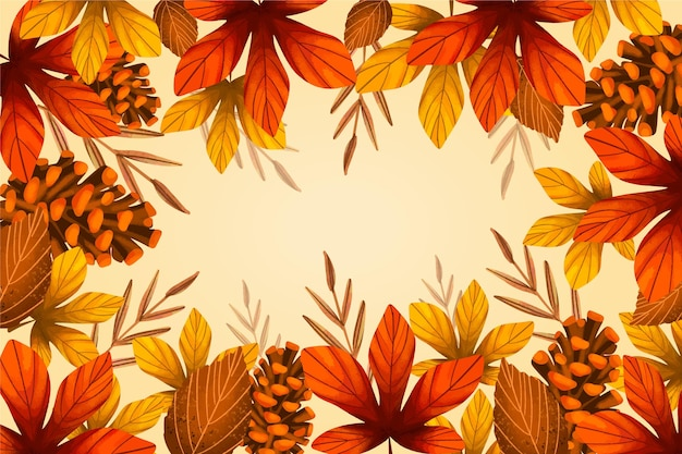 Drawn background with autumn leaves and empty space