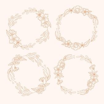 Нарисованная красивая коллекция цветочных венков