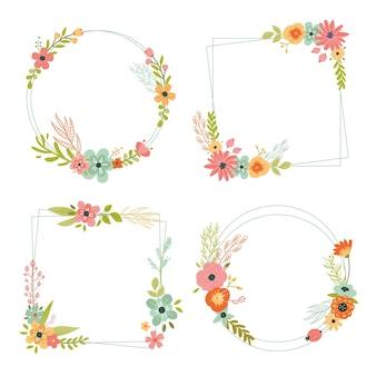 그린 아름다운 꽃 화환 컬렉션