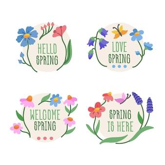 Drawn beautiful spring labels