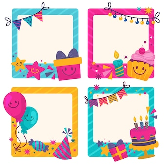 Drawn birthday collage frame collection