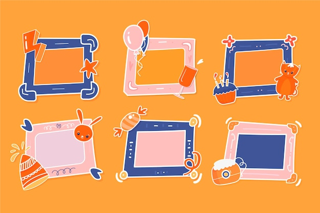 Drawn birthday collage frame pack