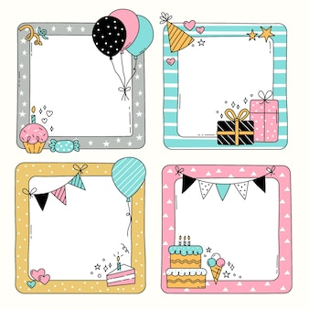 Drawn birthday collage frame set