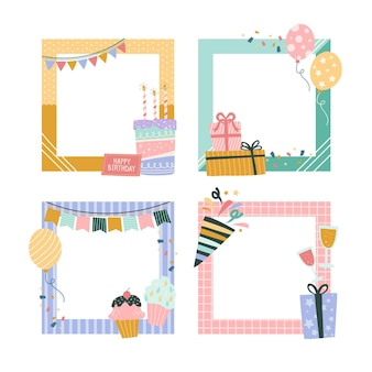 Drawn birthday collage frames pack