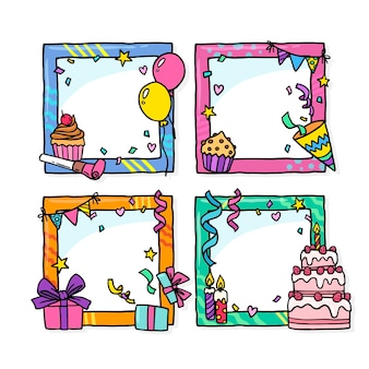 Набор рисованных коллажей на день рождения Бесплатные векторы