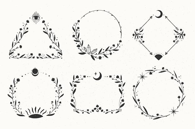Collezione di cornici boho disegnate