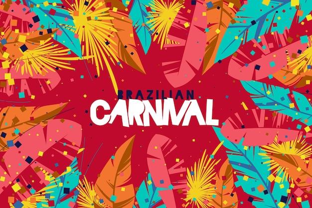 Drawn brazilian carnival event with festive elements illustration