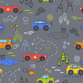 マーカーで描かれた車。シームレスな背景。