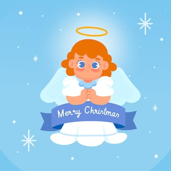 Drawn cartoon christmas angel