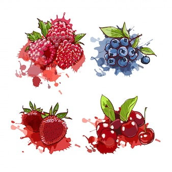 Drawn cherry, strawberry, blueberry and raspberry on watercolor splashes and spots.