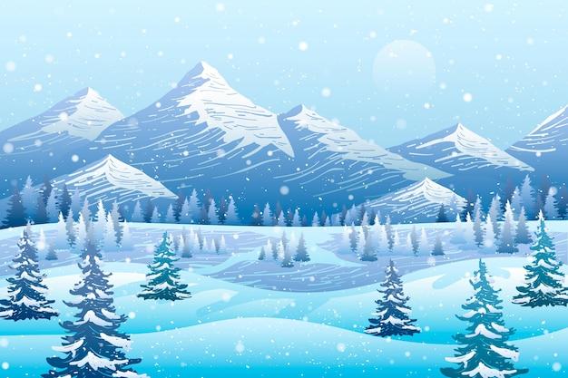 描かれた寒い冬の風景の背景