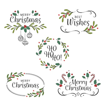 Drawn christmas badges pack