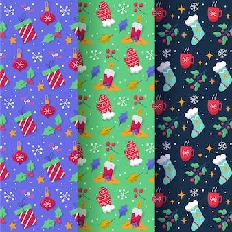 Drawn christmas pattern collection