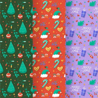 Drawn christmas pattern set