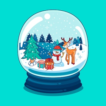 Drawn christmas snowball globe with snowman and reindeer