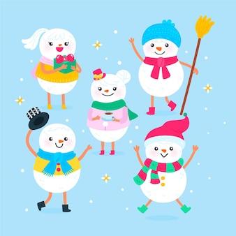 Набор рисованных рождественских снеговиков