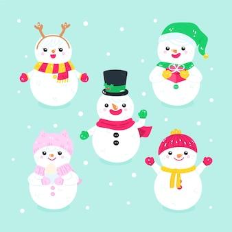 Набор символов нарисованный рождественский снеговик