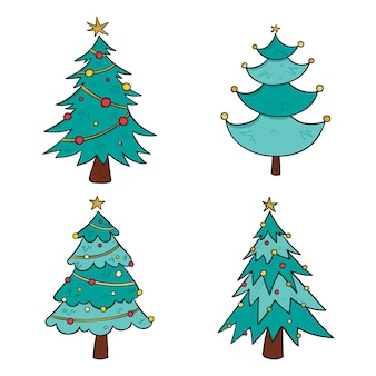Drawn christmas trees with ornaments