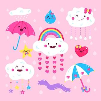Коллекция элементов рисованной chuva de amor