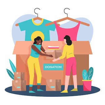 Drawn clothing donation concept illustrated