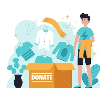Drawn clothing donation concept