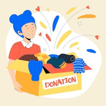 Нарисованная иллюстрация пожертвования одежды