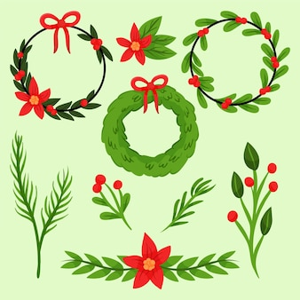 Drawn collection of christmas flowers and wreaths