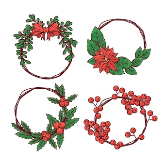 Drawn collection of christmas wreaths with flowers