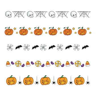 Drawn collection of halloween borders