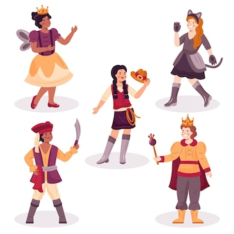 Drawn collection of kids costumes