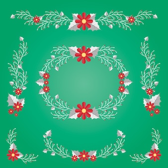 Нарисованная коллекция рождественских цветов
