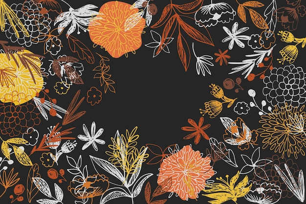 Drawn colorful flowers on blackboard wallpaper