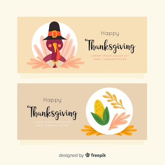 Drawn concept for thanksgiving banners