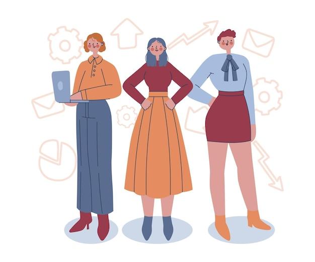 Drawn confident female entrepreneurs illustration
