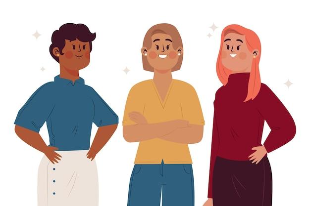 그려진 자신감 여성 기업가 그림