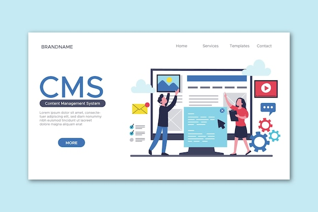 Drawn content management system landing page template