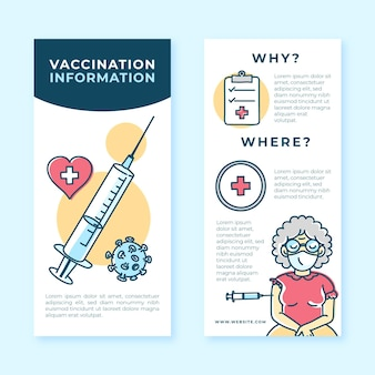 Drawn coronavirus vaccination informative brochure
