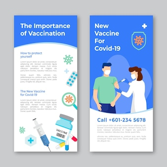 Drawn coronavirus vaccination informative brochure