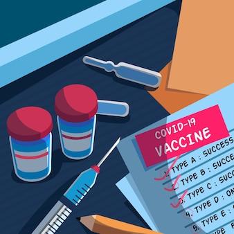 그려진 된 코로나 바이러스 백신 배경