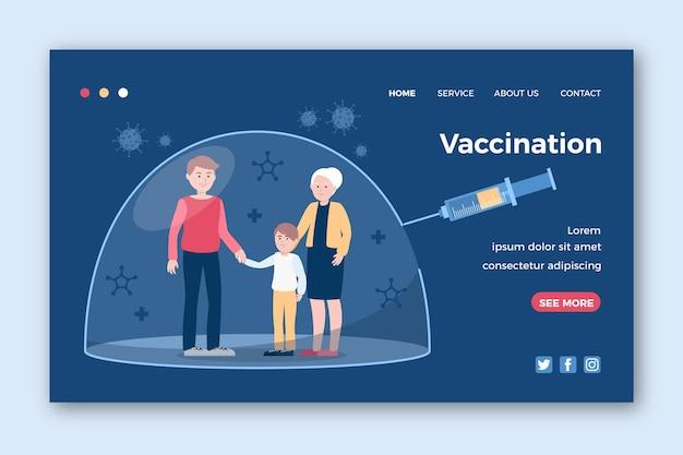 描かれたコロナウイルスワクチンのランディングページ