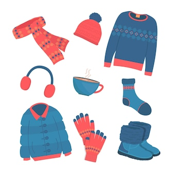 Set di vestiti invernali ed essenziali disegnati