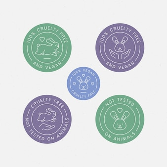 Pacchetto di badge senza crudeltà disegnato
