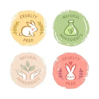 Drawn cruelty free badges collection Free Vector