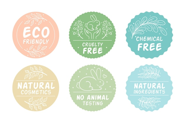 Drawn cruelty free badges pack
