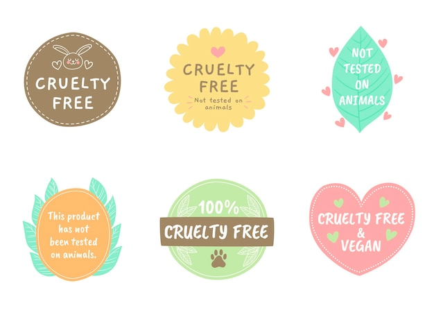 Pacchetto di badge cruelty free disegnati