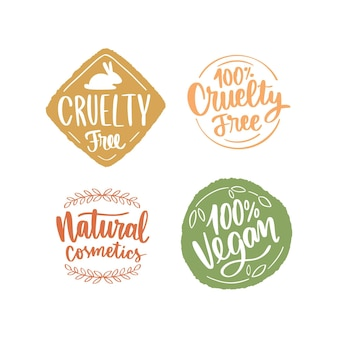 Drawn cruelty free badges set